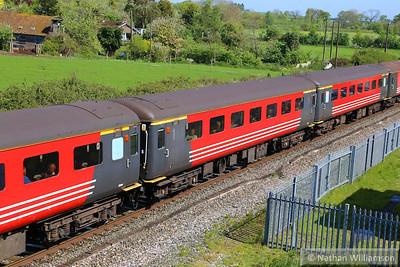 "Mk2f TSO 3325 passes Cogload Junction on the: 1Z91 06:43 Hooton to Minehead ""The Somerset Coast Express""  26/04/14"