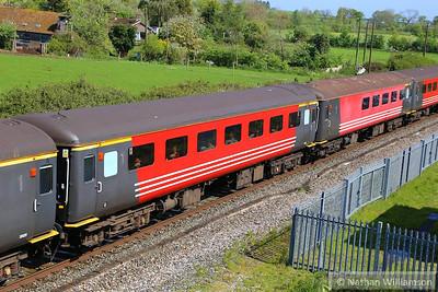 "Mk2f TSO 3333 passes Cogload Junction on the: 1Z91 06:43 Hooton to Minehead ""The Somerset Coast Express""  26/04/14"