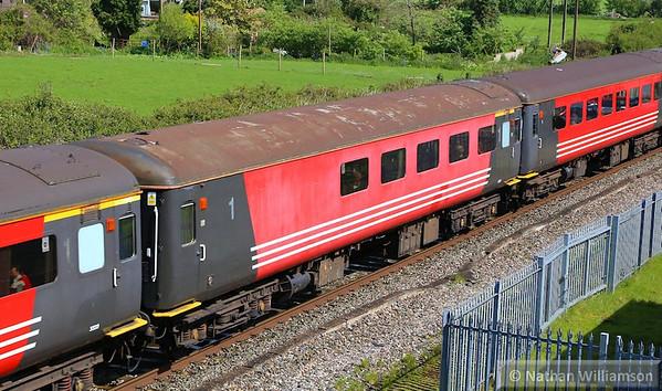"Mk2f TSO 1212 passes Cogload Junction on the: 1Z91 06:43 Hooton to Minehead ""The Somerset Coast Express""  26/04/14"