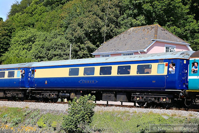 "Mk2f RFB 1200 ""Amber"" arrives into Kingswear passing the Royal Britannia Crossing at the higher ferry, part of the formation of the: 1Z18 07:13 Crewe to Kingswear ""The Torbay Flyer""  30/08/13"