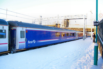 Mk2f RFB 1210 departs Carlisle in the snow, on the Scotrail Sleeper 02/12/10