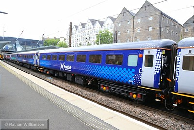 Mk2f TSO 5952 departs Haymarket in the formation on: 2L69 17:19 Edinburgh to Cardenden  15/06/15