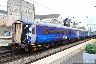 Mk2f TSO 5955 departs Haymarket in the formation on: 2L69 17:19 Edinburgh to Cardenden  15/06/15