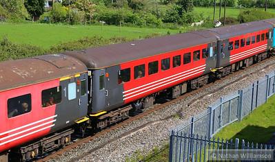 "Mk2f TSO 6027 passes Cogload Junction on the: 1Z91 06:43 Hooton to Minehead ""The Somerset Coast Express"" 26/04/14"