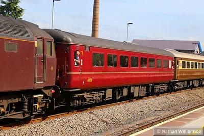 "Mk2f TSO 6000 heads west through Totnes on the: 1Z49 04:45 Derby to Penzance ""The Cornish Riviera Statesman"" 29/06/13"