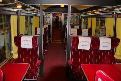 Interior of Mk2z SO 5229 with Wessex Trains seat covers. The vehicle was being used as first class, despite fitted with standard class 2+1 seating! 11/09/10