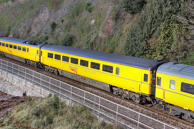 977994 - New Meausrement Train Track Recording Coach  (Converted from TGS 44087) heads north past Shaldon Bridge 20/11/09