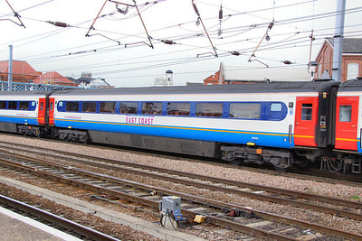 42205 wearing East Midlands Trains livery but with East Coast Branding departs Doncaster 27/06/11