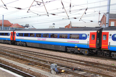 42210 wearing East Midlands Trains livery but with East Coast Branding departs Doncaster 27/06/11
