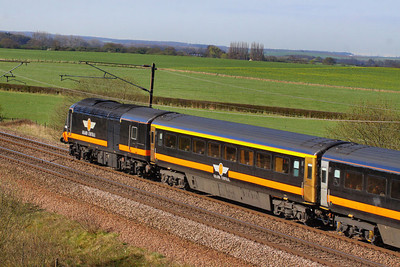 Mk3a FO 11023 was converted into HST TF 41204 for Grand Central.  41204 heads north through Colton Junction 05/04/12