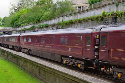 """10541 was converted in 1997 into a Royal Scotsman Saloon Car and renumbered 99968 """"State Car 5""""  Interior now consists of: 2 x compartments and attendants room converted into a generator room. 4 x compartments retained for staff use. 1 x compartment converted to a staff shower room. 5 x compartments converted into 2 twin passenger rooms.  99968 passes Sidney Gardens in Bath, on the: 5Z29 13:05 Westbury to Bath via Bath Goods Loop 10/07/12"""