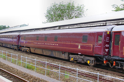 """10541 was converted in 1997 into a Royal Scotsman Saloon Car and renumbered 99968 """"State Car 5""""  Interior now consists of: 2 x compartments and attendants room converted into a generator room. 4 x compartments retained for staff use. 1 x compartment converted to a staff shower room. 5 x compartments converted into 2 twin passenger rooms.  99968 departs Bath on the: 5Z28 09:30 Bath to Westbury 10/07/12"""
