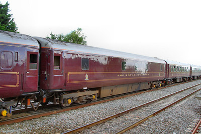"""10541 was converted in 1997 into a Royal Scotsman Saloon Car and renumbered 99968 """"State Car 5""""  Interior now consists of: 2 x compartments and attendants room converted into a generator room. 4 x compartments retained for staff use. 1 x compartment converted to a staff shower room. 5 x compartments converted into 2 twin passenger rooms.  99968 departs Swindon on the: 1Z29 14:59 Bath to Oxford 10/07/12"""