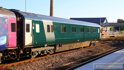 Mk3a SLEP 10532 wearing the new GWR livery heads west through Totnes  18/08/15