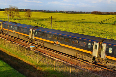 Mk3a TSO 12121 was converted into HST TS 42408 for Grand Central.  42408 heads north through Colton Junction 04/04/12