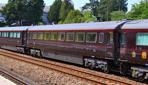 """Mk3a TSO 12001 was converted into  2904 """"The Duke of Edinburgh's Saloon"""" and consists of a bedroom, a shower room and a combined lounge / dining room for the Duke of Edinburgh  2904 heads north through Totnes 03/06/11"""