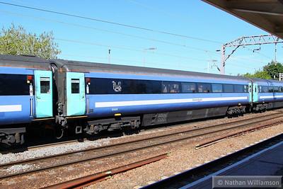 Mk3a TSO 12020 was converted into Mk3 RMB 10406.  10406 departs Colchester 04/06/13