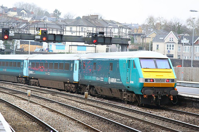 82306 departs Newport on the rear of the: 1V31 05:32 Holyhead to Cardiff Central 26/02/13  82306 was converted from 82144 for Arriva Train Wales to allow it work with Class 67's