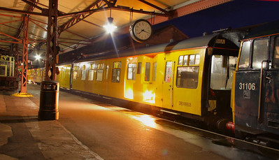 999508, Network Rail Track Recording Coach stands in Minehead at night 07/10/09