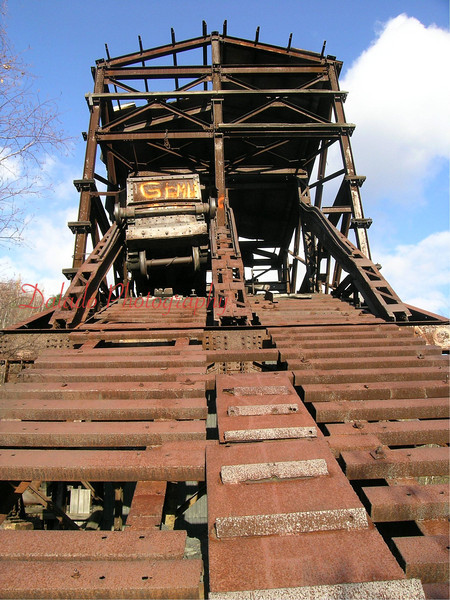 The cable holding the mine cart shown here was actually cut around 2010, sending the cart down the mountain.