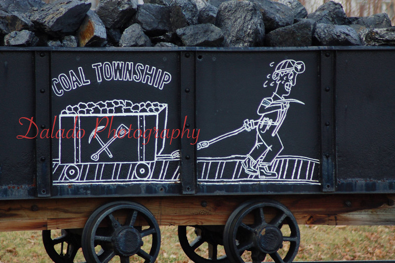 A mine cart at the Coal Township municipal building.