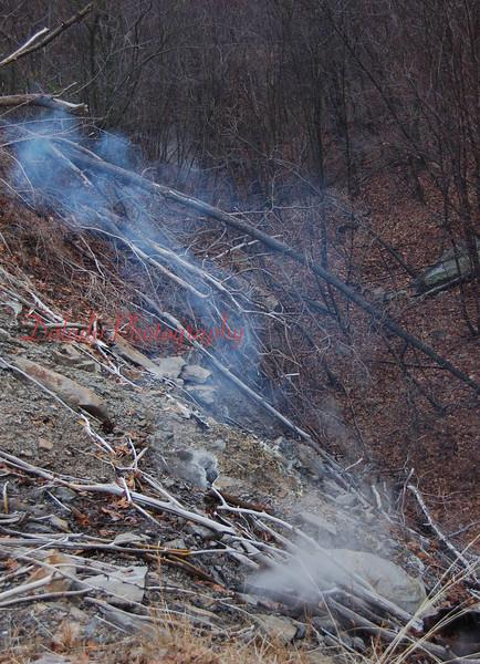 Blue smoke from the Coal Run/Glen Burn Mine Fire.