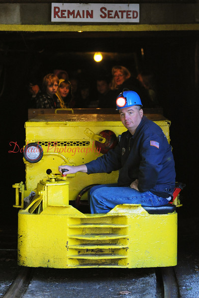 Pioneer Mine Tour- Tom Colihan, Pioneer Mine Tour guide, operates an electric mule out of the mine.