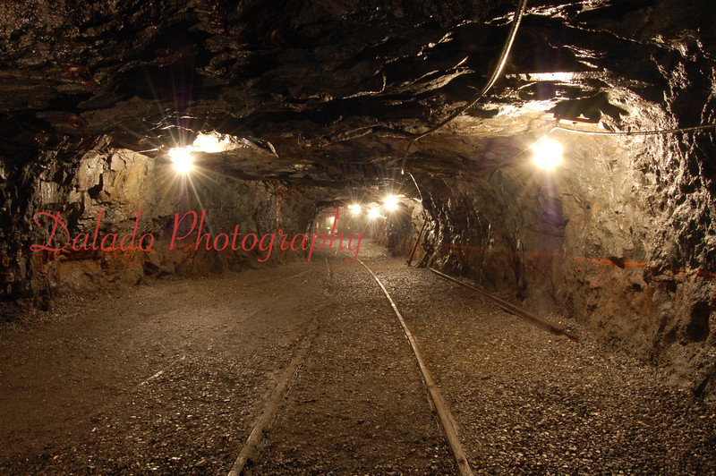 At one time this mine was flooded with evidence found on the acid mine drainage stained walls.