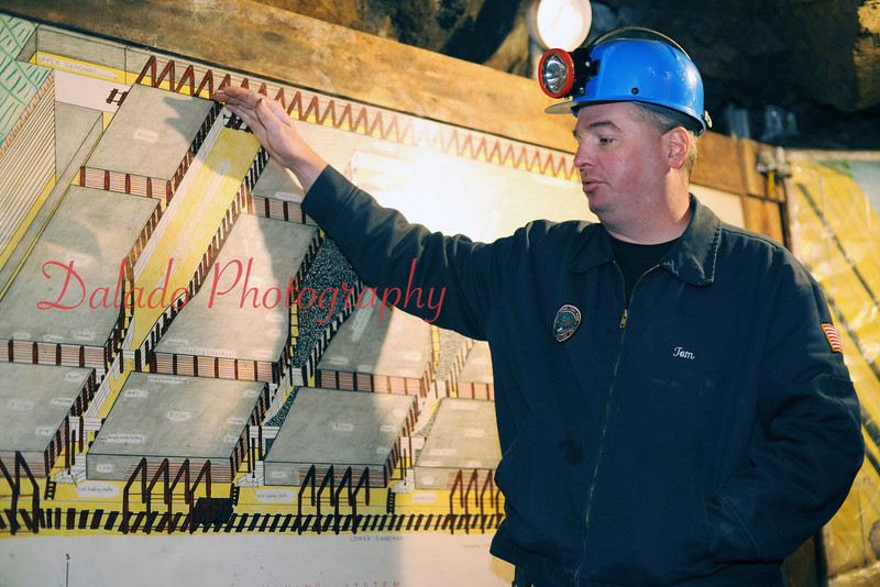 Colihan shows guests a partial layout of the mine.