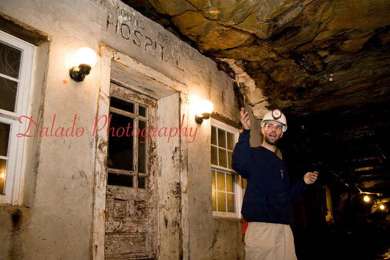 Andrew Girard, a tour guide with Lansford No. 9 Mine, speaks at the miners' hospital.