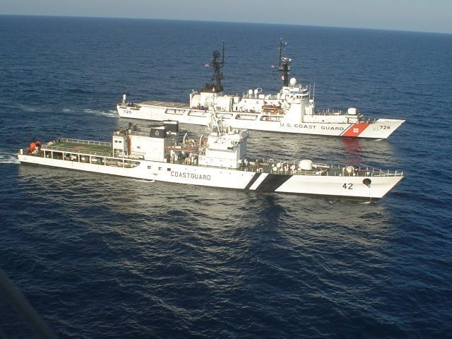 USCGC MIDGETT and the Indian Coast Guard Ship SAMAR conducting tactical maneuvering during MALABAR Exercises off the west coast of India. These annual Coast Guard and Navy exercises will include maritime law enforcement, maritime security, anti-piracy, maritime safety and other shipboard exercises.