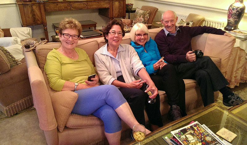Margaret, Ann, Shirley and Jim queeze themselves in
