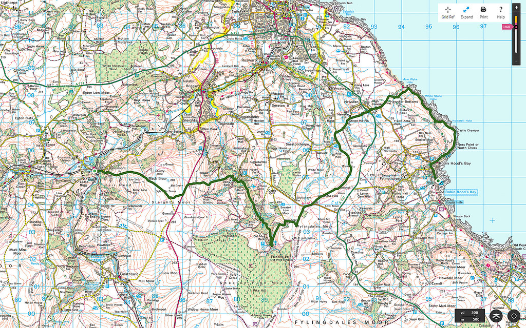 The route walked is in green