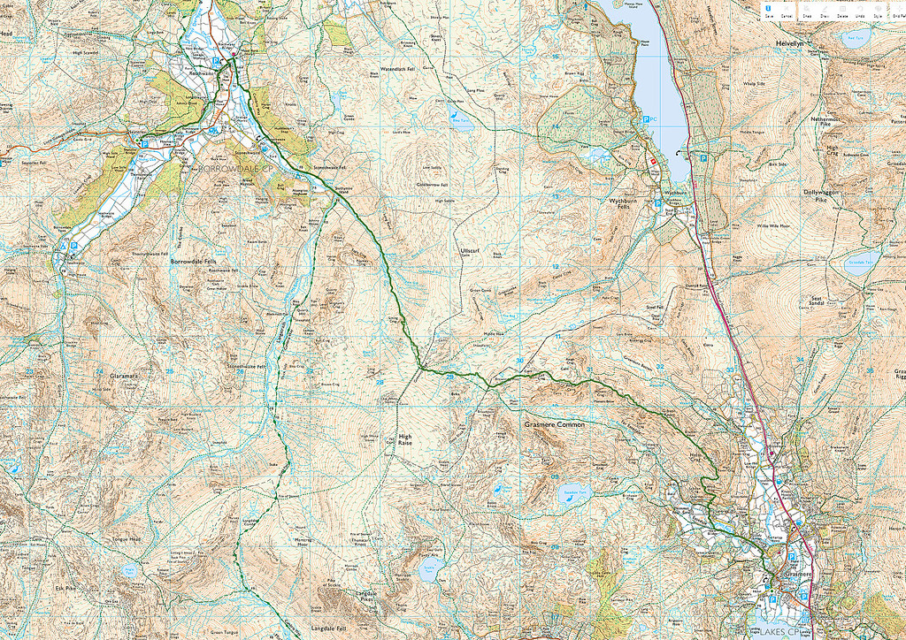 The route actually taken is shown in green