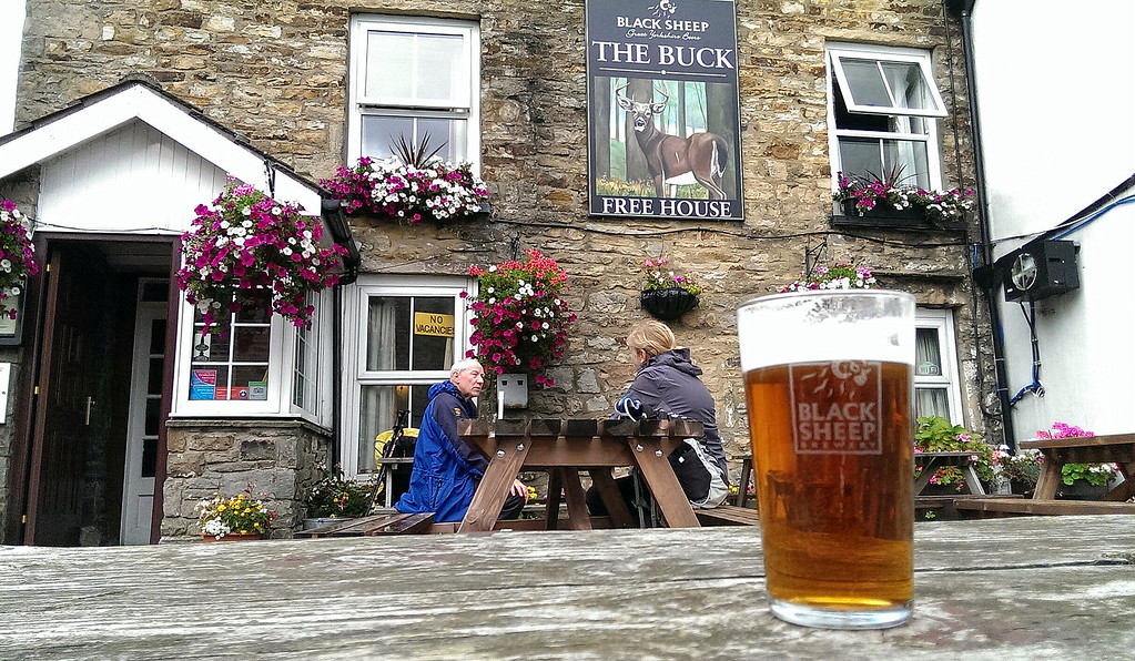 The best time for a pint - after a long satisfying walk!   Jim and Liz joined in outside The Buck in Reeth
