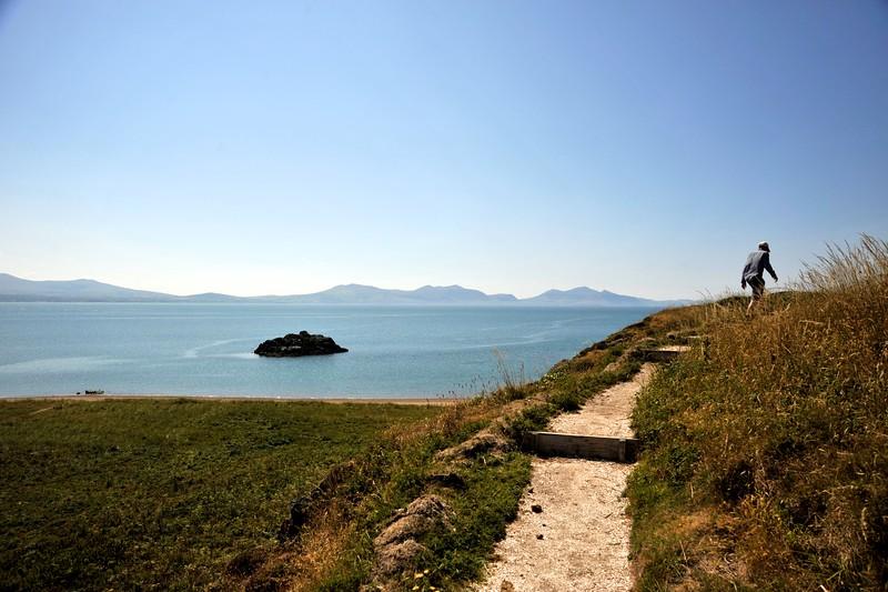 Llanddwyn Island, Anglesey, towards the Lleyn peninsula, Wales.