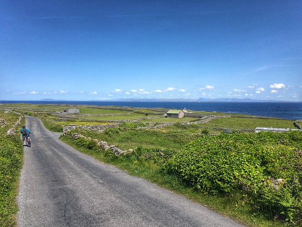 Cycling along the northern shores of Inishmore, looking towards the Galway mountains - utter beauty.