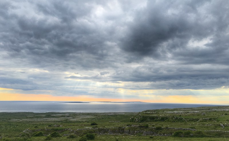 Towards Aran Islands from near Doolin, Ireland.