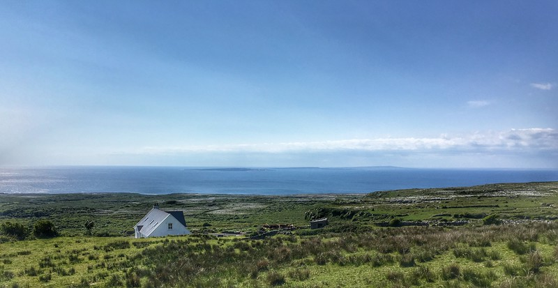 Holiday house near Doolin, looking towards Aran Islands, Ireland.