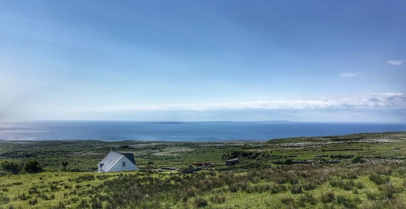 Holiday house near Doolin, looking towards Aran Islands, Ireland.