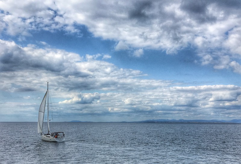 On the way to Inishmore, looking towards the Galway mountains.