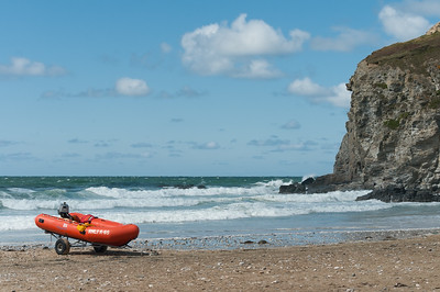 RNLI rescue dinghy at Porthtowan