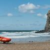 RNLI rescue dinghy at Porthtowan