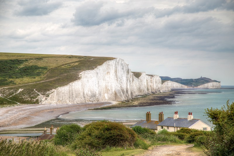 The Seven Sisters and Fisherman's Cottages   HDR