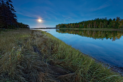 Tidal estuary in moon light moonlight Northumberland Strait