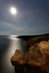 South coast of Cape Breton Island under moon light moonlight light rocks Nova Scotia