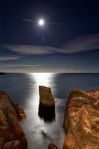 South coast of Cape Breton Island under moon light moonlight light painting rocks Nova Scotia