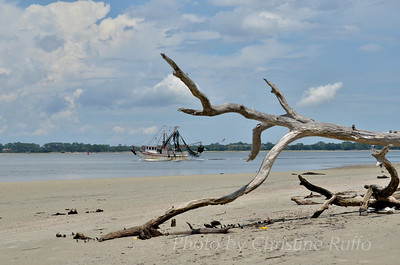Shrimp boat off Driftwood Beach. Jekyll Island, Georgia