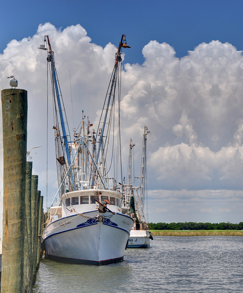 A shrimp boat moored at Apalachicola, FL.