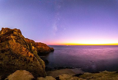Subtle Milky Way Off The Coast Of San Diego During The Warm Pastel Colors Of Twilight.